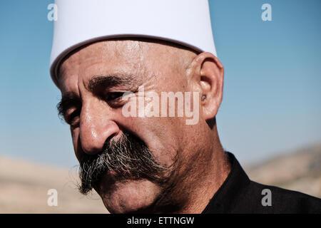 Majdal Shams, Israel. 15th June 2015. Sheik HAYEL SHARAF of the Druze village of Ein Kinya; 'the border here is - Stock Photo