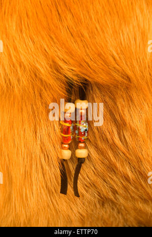 Clasp on fur purse, Grizzly Mountain Long Rifles Horse Ridge Rendezvous, Deschutes County, Oregon - Stock Photo