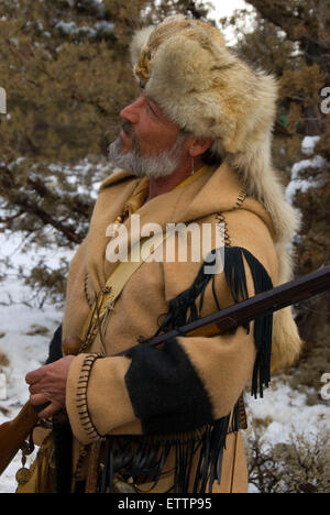 Mountain man, Grizzly Mountain Long Rifles Horse Ridge Rendezvous, Deschutes County, Oregon - Stock Photo