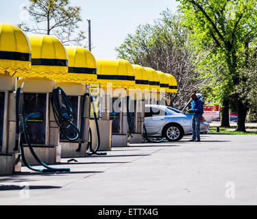 Automobile vacuum stations at a car wash business in Oklahoma City, Oklahoma, USA. - Stock Photo