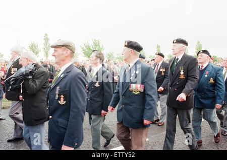 Thornaby Aerodrome Memorial, Unveiling and service of dedication, Thornaby, 8th May 1997. Pictured, former servicemen - Stock Photo