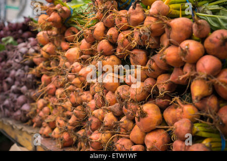 Golden beets with other produce at the Union Square Greenmarket in New York on Saturday, June 13, 2015. (© Richard - Stock Photo