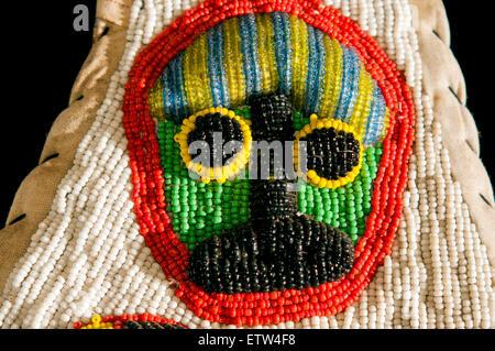 Yoruba tribe three dimentional beaded crocodile diviner's panel from Nigeria - Stock Photo