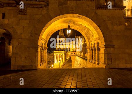 Hungary, Budapest, Fisherman's Bastion at night - Stock Photo