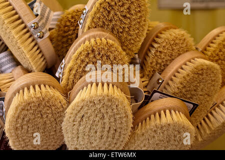 wooden brush with natural fibers ecological market - Stock Photo