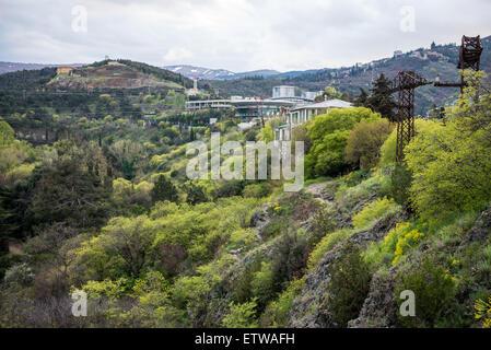 Sololaki Palace seen from from Narikala Fortress hill in Tbilisi, capital of Georgia - Stock Photo
