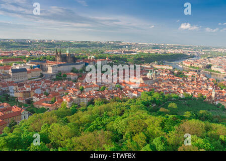 Hradcany Prague, view of the Hradcany district in Prague from the heights of the city's largest park - the Petrin, - Stock Photo