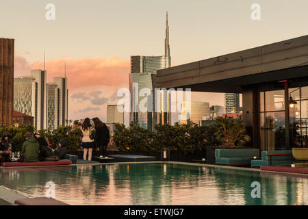 Milan, the view of the skyline of Porta Nuova from the terrace restaurant Ceresio 7, - Stock Photo