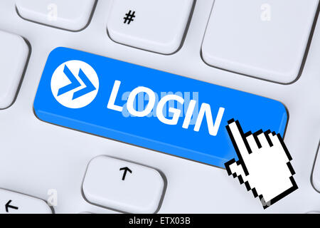 Login button symbol submit with password online on internet computer - Stock Photo