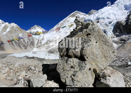 Buddhist Stupa with Prayer flags, Khumbu Glacier, Everest base camp pass, UNESCO World Heritage Site, Sagarmatha - Stock Photo