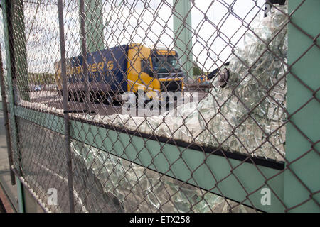 Europe, Germany, Cologne, destroyed sound protection wall on the Rodenkirchener bridge across the river Rhine, bridge - Stock Photo