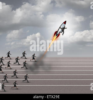 Motivation concept and career boost as a group of business people running on a track with a businessman on a rocket - Stock Photo