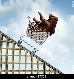 Stock market decline financial crisis concept as a bear in a shopping cart going down on a roller coaster structure - Stock Photo