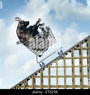 Stock market rise financial success concept as a bull in a shopping cart going up on a roller coaster structure - Stock Photo