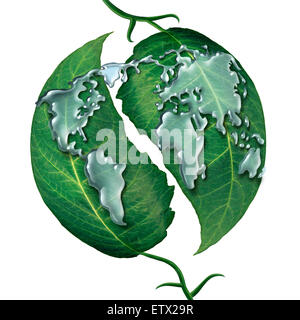 World leaf water drop concept as a group of liquid rain drops shaped as  the map of the earrth on green leaves as - Stock Photo
