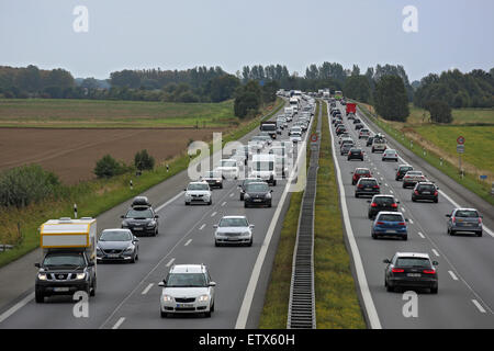 Neuruppin, Germany, slow-moving traffic on the A24 - Stock Photo