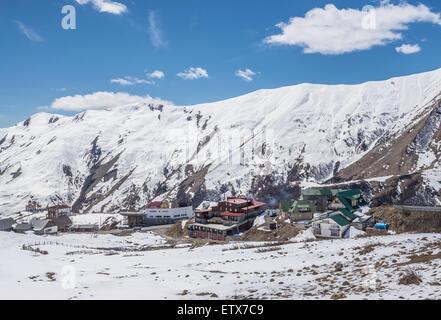 Gudauri ski resort in Greater Caucasus Mountains - view from Georgian Military Highway, Georgia - Stock Photo