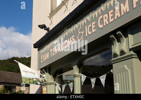 UK, England, Derbyshire, Eyam, Town End, The Square, Tea rooms in former Bold Rodney public house - Stock Photo