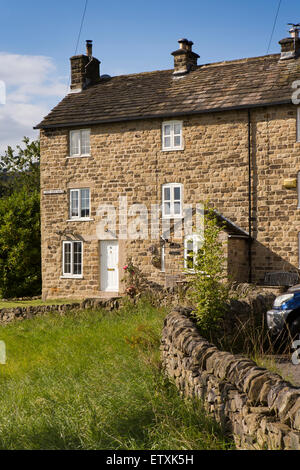 UK, England, Derbyshire, Eyam, three storey cottages in Lower Burch Row - Stock Photo