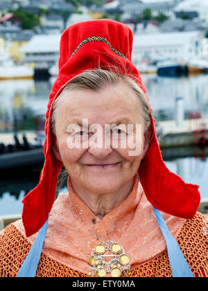 An elderly Sami woman photographed in Honningsvaag, Norway (with her permission). - Stock Photo
