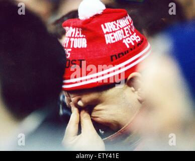 Tears of a Wrexham fan at Old Trafford. FA Cup match between Manchester United 5 -2 Wrexham. 28th January 1995. - Stock Photo