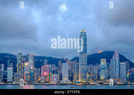 Dusk skyline of skyscrapers in Hong Kong from Kowloon on a clear day - Stock Photo