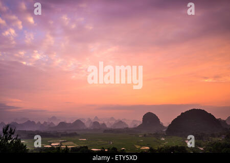 Karst Mountain Landscape in Guilin, Guangxi, China. - Stock Photo