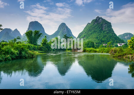 Yangshuo, China Karst Mountain landscape. - Stock Photo