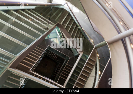 View looking down the stairwell of the car park at Tower Place. - Stock Photo