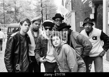 The Beastie Boys in Amsterdam with members of Run-DMC. 22nd May 1987. - Stock Photo