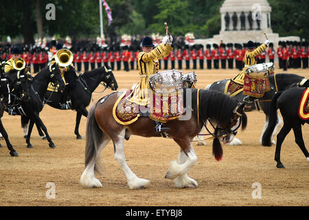 British military Guard of Honor during the annual Trooping the Colour parade marking the official birthday of Queen - Stock Photo