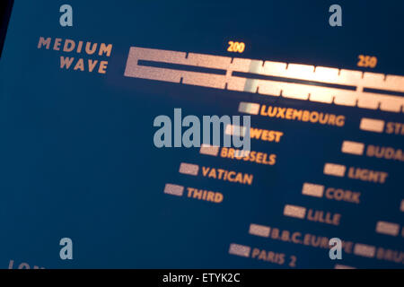 Old radiogram frequency dial. Medium wave list of radio stations. Tuning positions. - Stock Photo