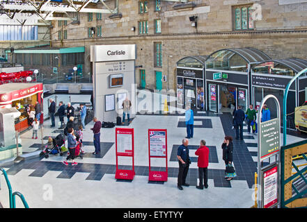 Looking down on the main concourse of the city of Carlisle railway station (Citadel station), Carlisle, Cumbria, - Stock Photo
