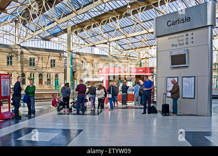 View across the concourse of Carlisle railway station (Citadel station) to original Victorian architecture on opposite - Stock Photo