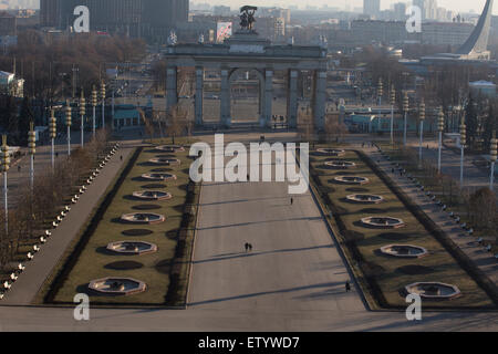 Aerial view of the main entrance and avenue of the Exhibition of Achievements of the People's Economy (VDNKh) in - Stock Photo