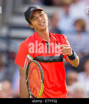 London, UK. 16th June, 2015. Queens Aegon Championship Tennis. Frustration on the face of Lu Yen-hsun (TPE). Credit: - Stock Photo