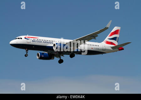 British Airways Airbus A320 passenger jet plane with sharklets (winglets or upturned wingtips). Modern aviation. - Stock Photo