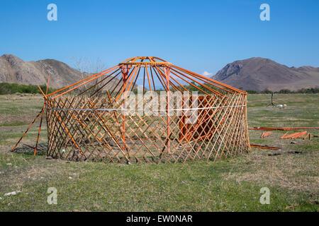 View of national asian yurt in mountains near Baikal lake - Stock Photo