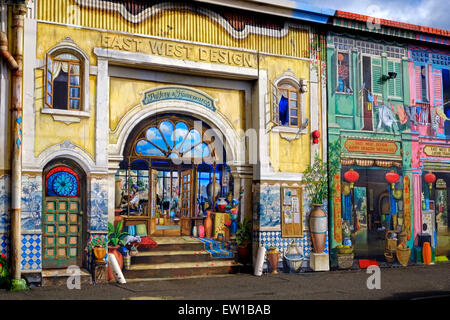 trompe l 39 oeil mural or wall painting of restaurant shopfront le pot stock photo royalty free. Black Bedroom Furniture Sets. Home Design Ideas