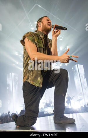 Rosemont, Illinois, USA. 15th June, 2015. Singer DAN REYNOLDS of Imagine Dragons performs live on stage at the Allstate - Stock Photo