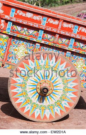 Decorative ox-cart, Costa Rica, Central America - Stock Photo