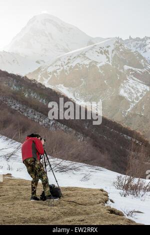 Aerial view on Greater Caucasus Mountains with Mount Kazbek, Georgia - Stock Photo