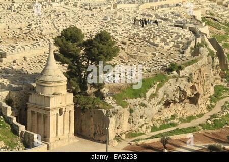 Israel, Jerusalem, Absalom's Tomb in Kidron valley - Stock Photo