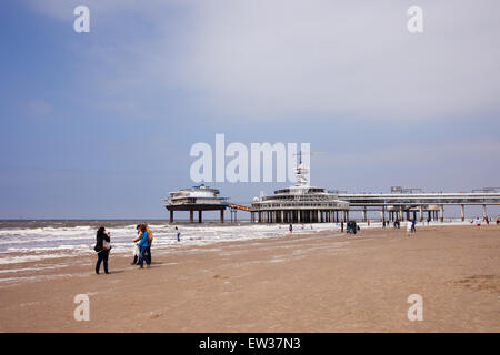 Scheveningen beach and pier by the North Sea in The Hague (Den Haag), South Holland, the Netherlands. - Stock Photo