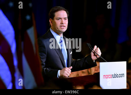 Republican Florida U.S. Senator Marco Rubio speaks as he announces his candidacy for the Republican presidential - Stock Photo
