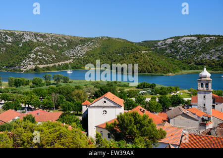 View of town of Skradin and Krka River from view point - Dalmatian Coast of Croatia - Stock Photo
