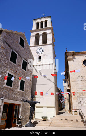 Parish church of St Cross in Vodice on Dalmatian Coast of Croatia - Stock Photo