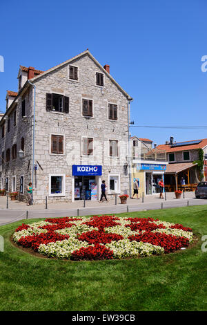 Floral display in old town of Vodice on Dalmatian Coast of Croatia - Stock Photo