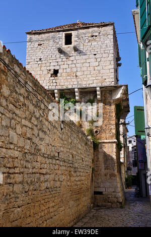 Coric tower (built 1646) in old town of Vodice on Dalmatian Coast of Croatia - Stock Photo