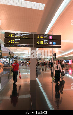 Interior of Prat Airport on May 5, 2015 in Barcelona, Spain. Since 2013, El Prat-Barcelona is the busiest airport - Stock Photo